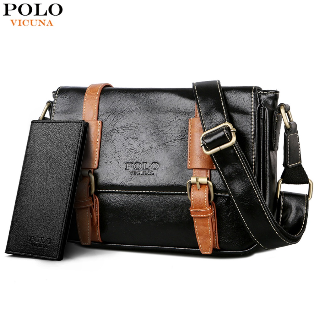 494c0895817 VICUNA POLO Man Vintage Leather Messenger Bag Famous Brand Business Man Bag  Men's Shoulder Bags High