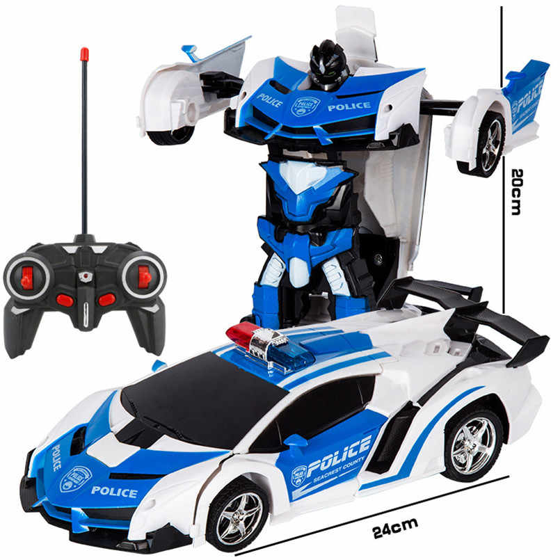 One Key Deformation Remote Control RC Robot Racing Car Model Transforming Toys