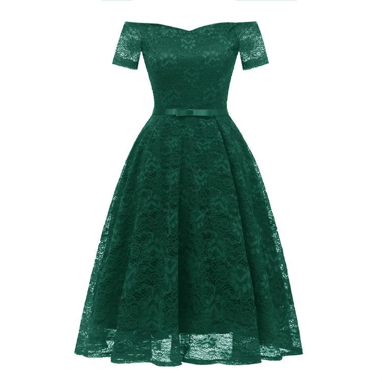 Ladies Women's burgundy navy Women Apricot Clothes shoulder One pink Blue Lace Dress 2018 green Vintage Fashion New qxCrzSq