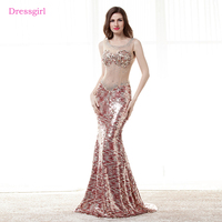 See Through 2018 Prom Dresses Mermaid Sequins Sparkle Beaded Elegant Long Women Prom Gown Evening Dresses