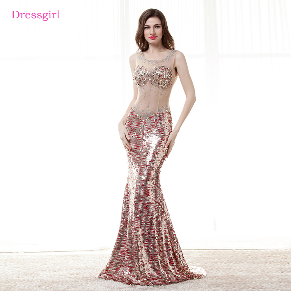 See Through 2019   Prom     Dresses   Mermaid Sequins Sparkle Beaded Elegant Long Women   Prom   Gown Evening   Dresses   Robe De Soiree