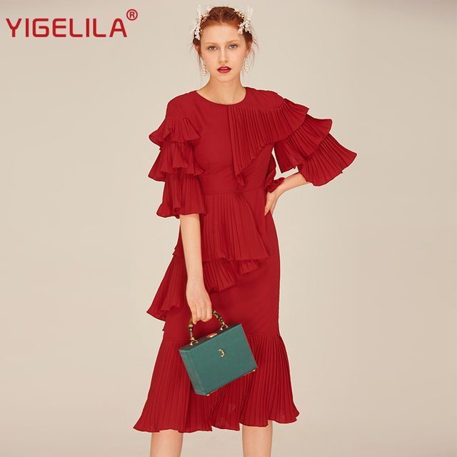 YIGELILA Brand 62436 Fashion Women Red Ruffles Dress Solid Casual O-neck Flare Sleeve Chiffon Pleated Empire Midi Length Dress