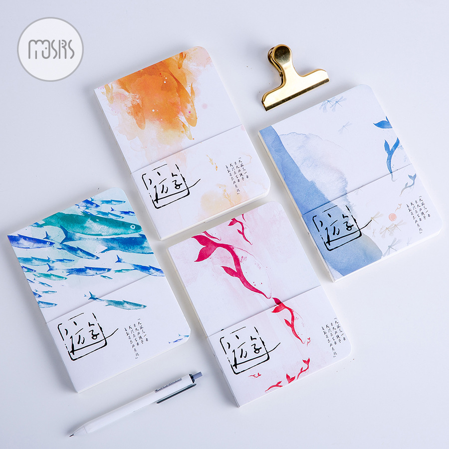 Cute Fish Series DIY Blank Page 32K Notebook Travel Journal Personal Diary Notepad Sketchbook Graffiti Book