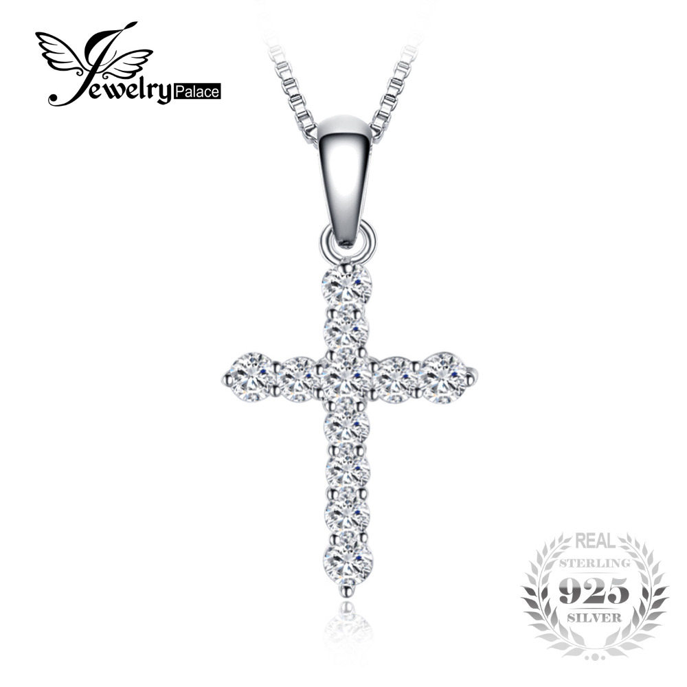 JewelryPalace Cubic Zirconia Cross Pendant Necklace Real 925 Sterling Silver Jewelry 18 Inches Chain Fashion Necklace Gift