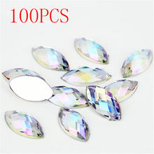 Hot Sale 100Pieces Flat Back Marquise Earth Facets Clear Crystal AB Acrylic Horse eye Shape Rhinestone Nail art diamond DIY(China)
