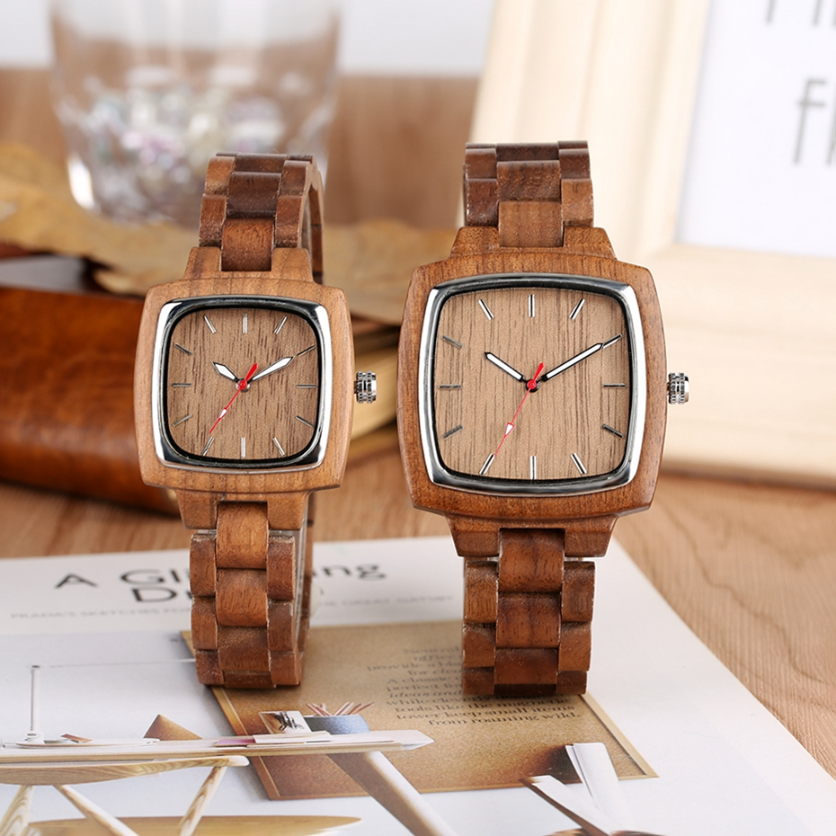 Unique Walnut Wooden Watches for Lovers Couple Men Watch Women Woody Band Reloj Hombre 2019 Clock Male Hours Top Souvenir Gifts 2019 2020 2021 2022 2023 2024 (5)