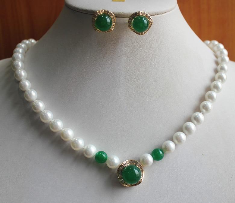 Delle donne Matrimonio fashion della signora 8mm guscio bianco perla decorato con GEMMA verde collana 12mm orecchini dargento-gioielliDelle donne Matrimonio fashion della signora 8mm guscio bianco perla decorato con GEMMA verde collana 12mm orecchini dargento-gioielli