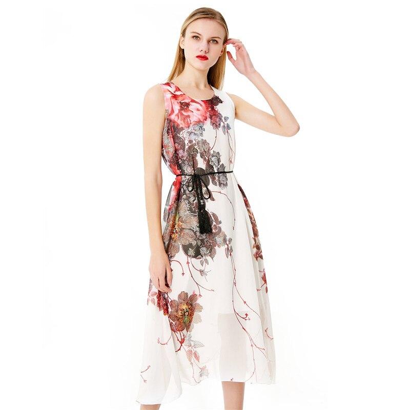 73d80b114d14 New Design Summer Sleeveless Dress Ladies Floral Print Maxi Dress ...