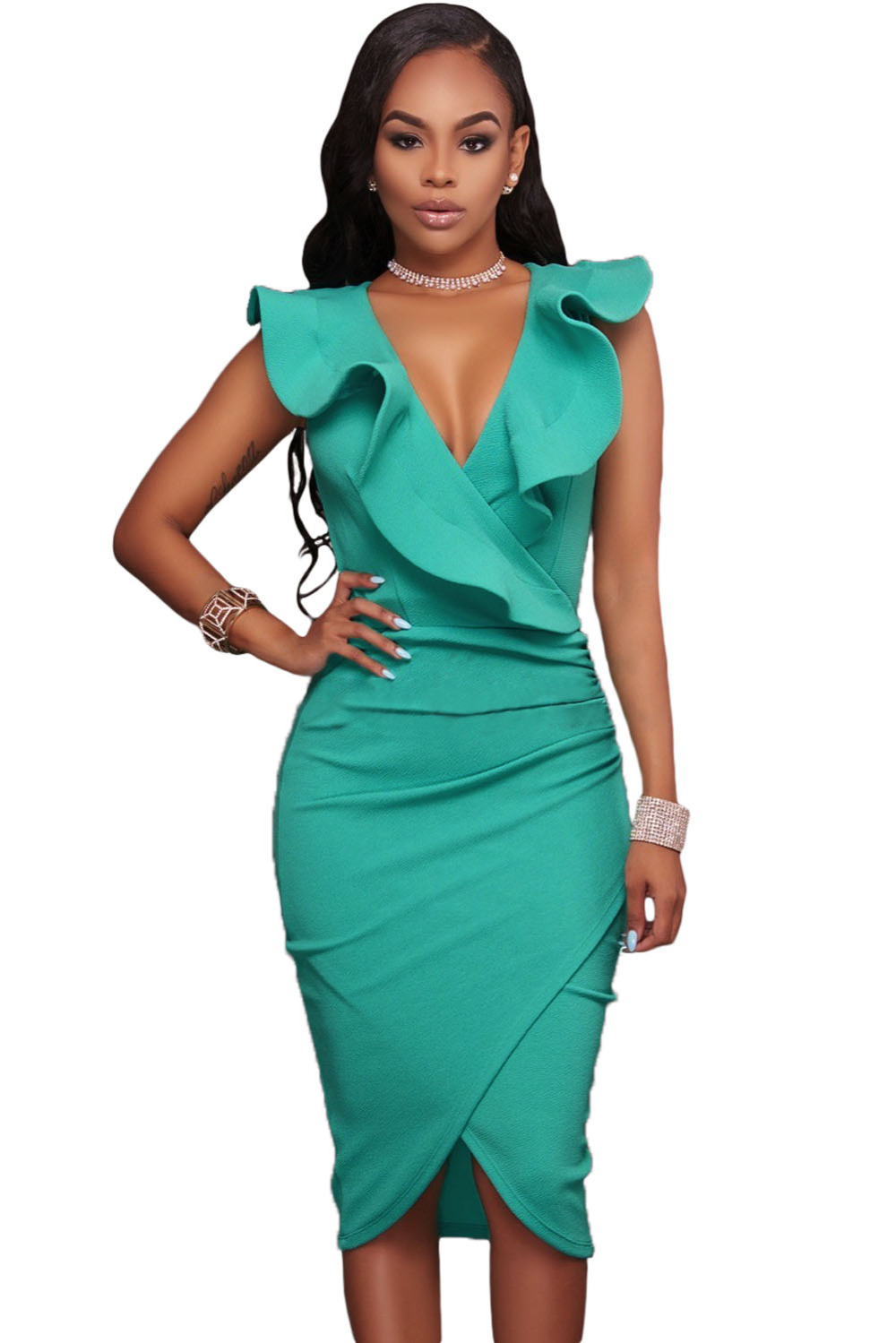 Women's Fashion Turquoise Black Ruffle V Neck Midi Dress ...
