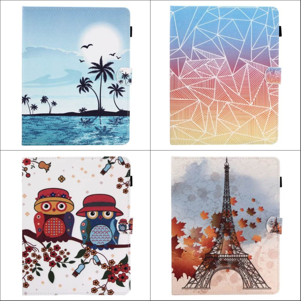 Fashion Flower Tree Owl wallet Card Slot Pu leather stand holder Cover Case for ipad 2 3 4 new ipad 3 ipad 4 ipad2 with pen