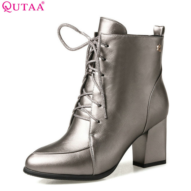 QUTAA 2018 Women Ankle Boots Lace Up Pointed Toe and Square High Heel Fahion  Black Winter Women Motorcycle Boots Size 33-43 pointed toe high heel ankle women boots oxfords with lace