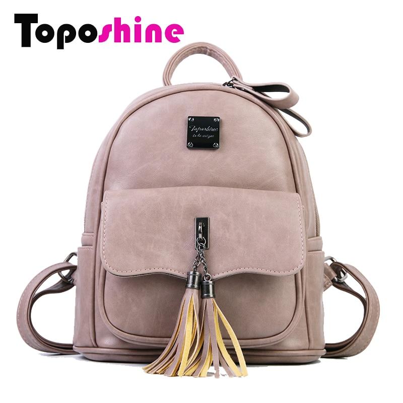 Toposhine 2017 Summer Fashion Solid Women Backpack Tassel Teenage Girl Bag Korean Backpacks Soft PU Leather Female Backpack 1767 tassel bag backpack 2018 korean new