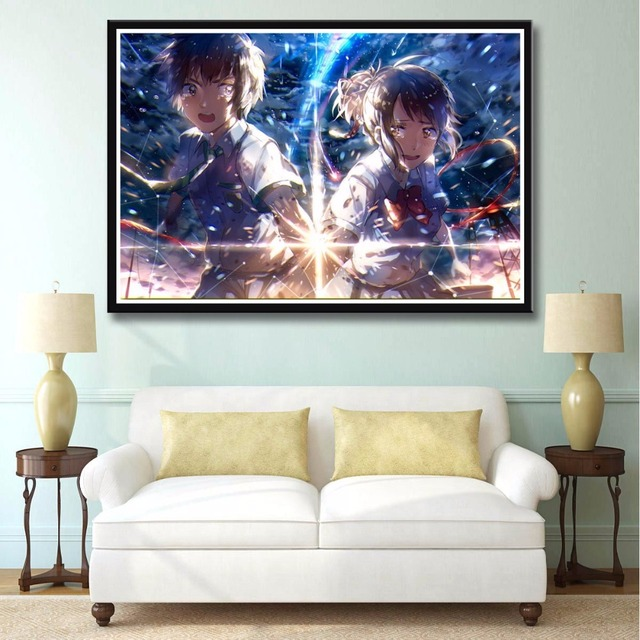 Kimi no na wa Your name Hot Anime Movie New Top Custom Art Print Poster Silk Light Canvas Painting Wall Picture Home Decor SKU01-in Painting & ...