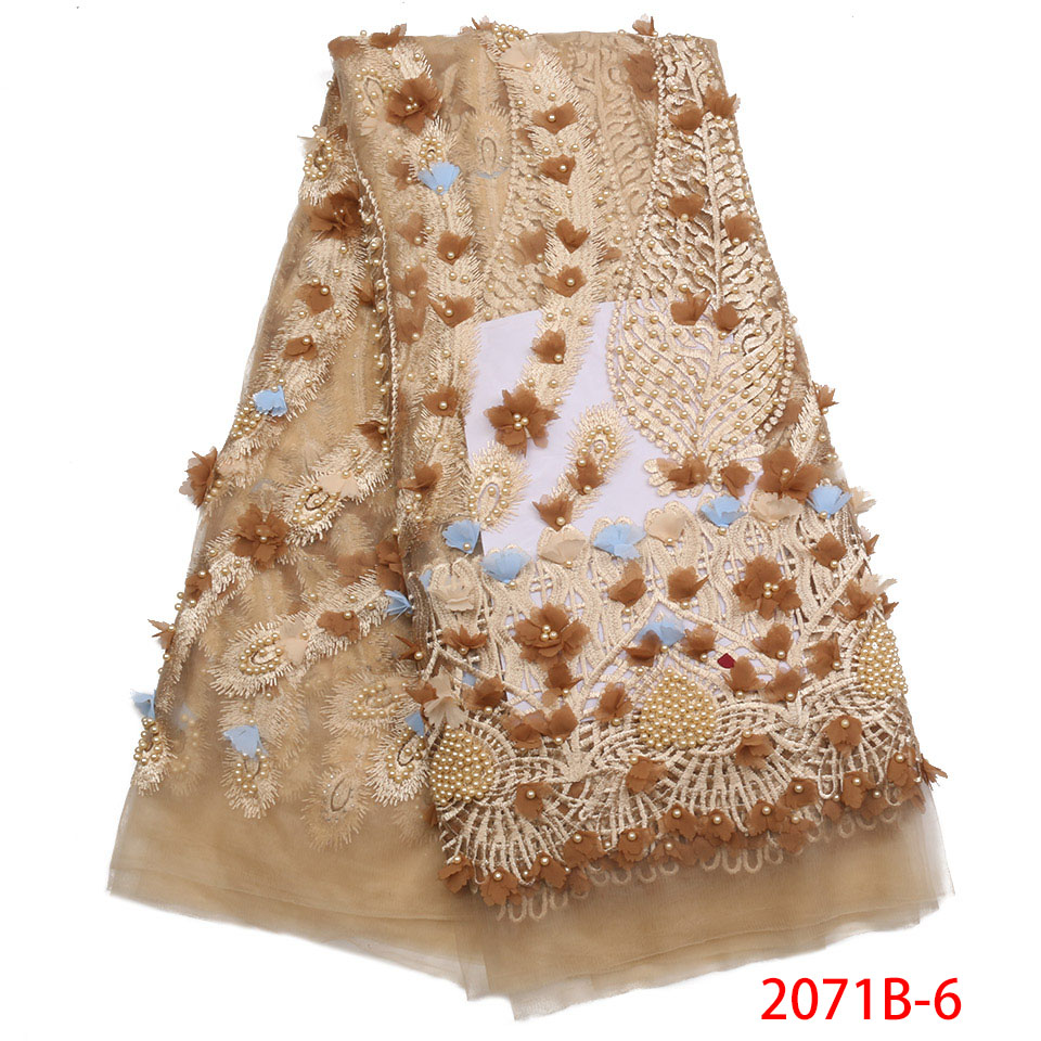2019 New Style French Net Lace Fabric Brown 3D Flower African Tulle Mesh Lace Fabric Beaded