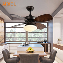 AIBIOU Practical Ceiling Fan With Lights For Living Room LED Fans Light 220V Wooden Indoor Cooling Lighting Fixtures