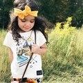 INS 2017 Летний ребенок белый маленький все матч 100% хлопка с коротким рукавом Футболки мультфильм водяной знак ДЕВОЧКА ОДЕЖДЫ МЛАДЕНЦА МАЛЬЧИК ОДЕТЬ