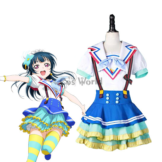 LoveLive!Sunshine!! Jumping Heart Tsushima Yoshiko Sailor Suit Uniform Dress Outfit Anime Cosplay Costumes
