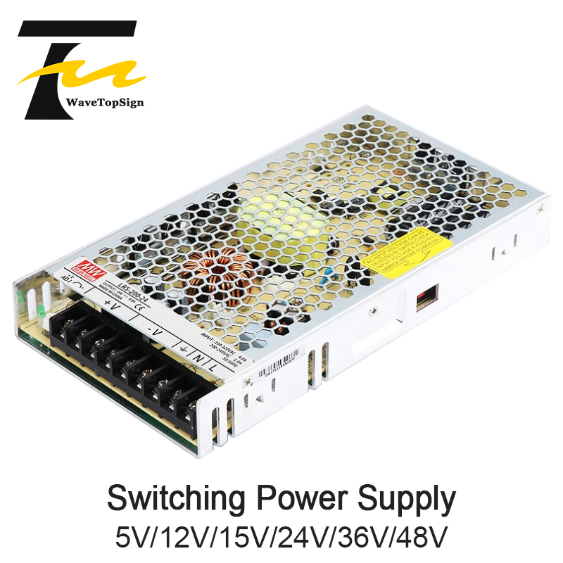 WaveTopSign Meanwell LRS 200 200w Switching Power Supply Output DC12V 24V 36V 48V 200W Original MW Taiwan Brand LRS 200 24