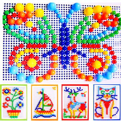 296 colorful mushroom nail puzzle intelligent plastic educational flashboard toys Jigsaw puzzle game Mosaic Pegboard flapper