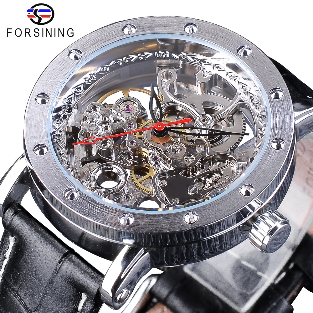 Forsining Silver Skeleton Wristwatches Black Red Pointer Black Genuine Leather Belt Automatic Watches for Men Transparent Watch ножной запайщик hl pfs 650 2