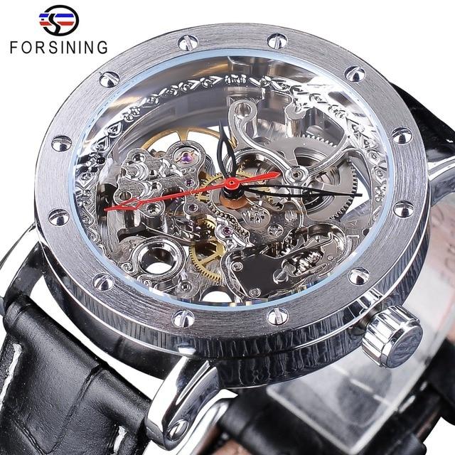 Forsining כסף שלד שעוני יד שחור אדום מצביע שחור אמיתי חגורת עור אוטומטי שעונים לגברים שעון שקוף