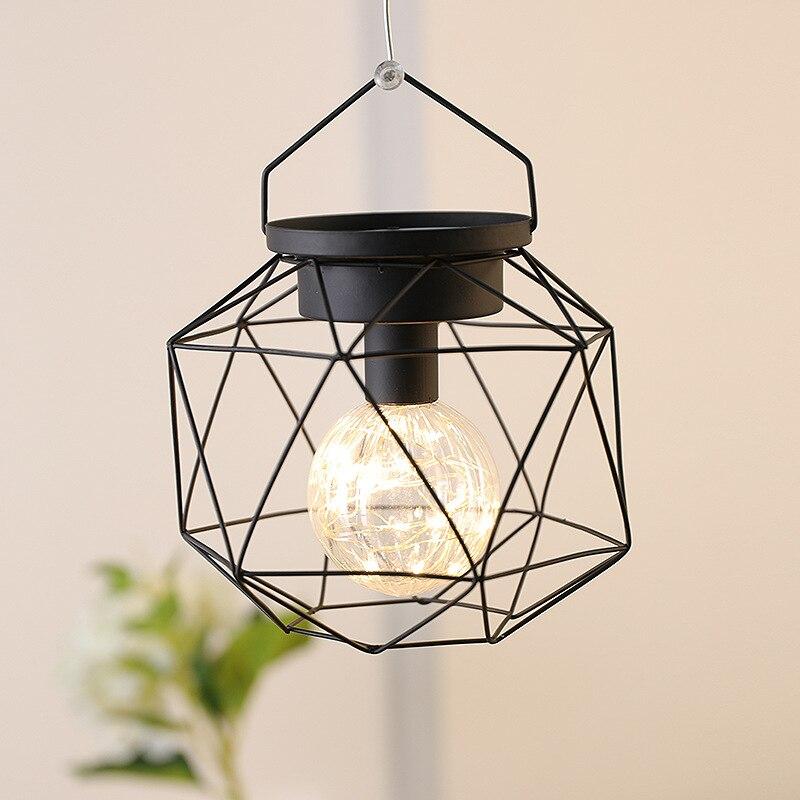 Подвесная лампа геометрической формы на батарейках, медный провод, подвесной светильник, украшение для дома, ресторана, кафе