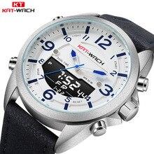 KAT-WACH Модный Топ бренд для мужчин часы кожа водостойкие кварцевые наручные светодиодный Военная Униформа спортивные Relogio Masculino