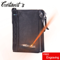 Free Engrave Brand Design Genuine Leather Wallet Casual Men And Woman Wallets Card Holder Short Double