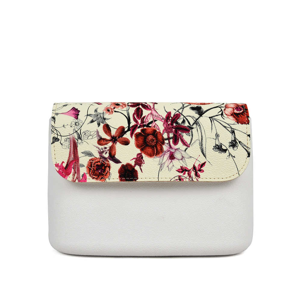TANQU New Floral Print PU Leather Flap Cover Lid Clamshell with Magnetic Lock Snap Fastener for Obag O Pocket O Bag