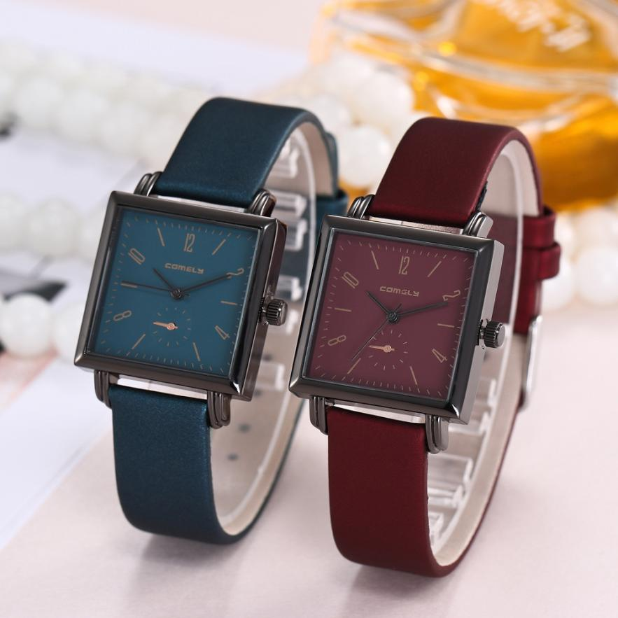 все цены на Fashion Casual Men Women Girl's Faux Leather Strap Band Analog Quartz Alloy Ladies Wrist Watch femme Square Women Watches 40P онлайн
