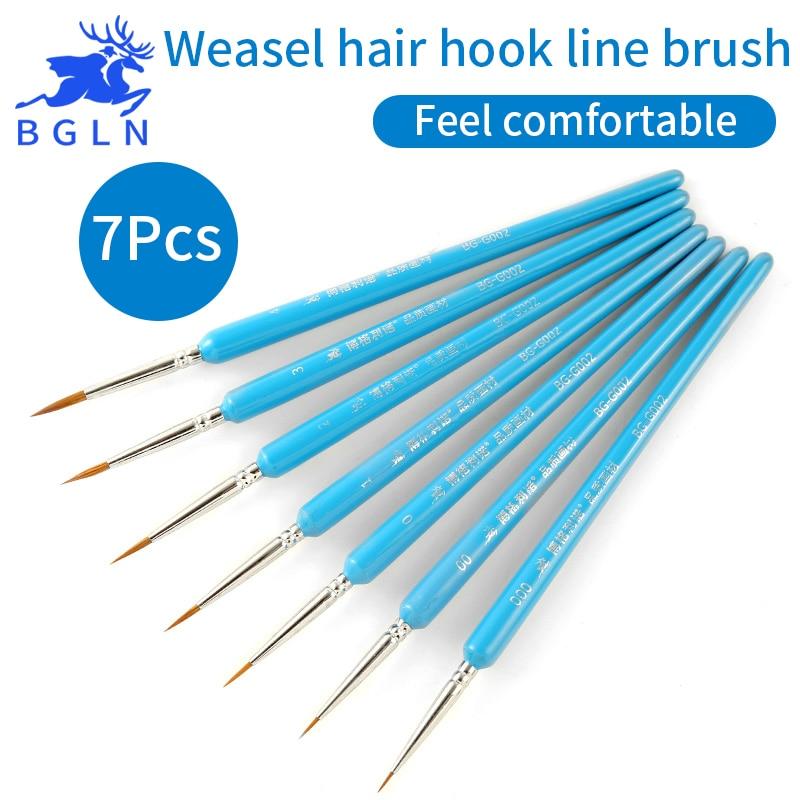 BGLN Weasel Hair Hook Line Pen Fine Paint Brush Set Artist Gouche Watercolor Acrylic Oil Painting Brush Artist Supplies BG-G002