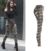 Sexy Camouflage Jeans Stylish Skinny Hole Jeans Women High waist Denim Pencil Pants Trousers Female