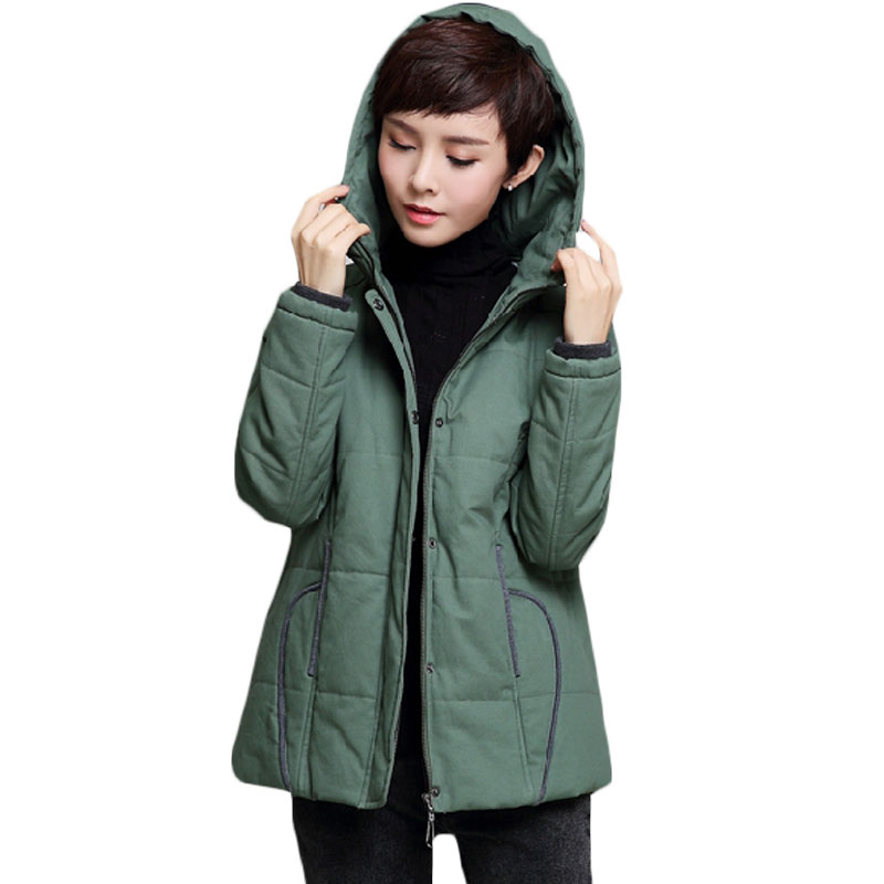 2017 Winter Casual Cotton Jacket Women Big Size Loose Basic Parka Coat Warm Parkas Ladies Outerwear Hooded Plus Size M-4XL XH805 2017 winter women long hooded cotton coat plus size padded parkas outerwear thick basic jacket casual warm cotton coats pw1003