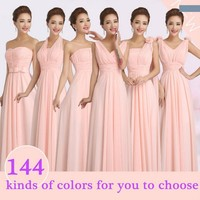 2017 Hot Peachy Pink Winter Wedding Party Bridesmaid Dress Long Cheap Chiffon Prom Bridesmaid Dresses