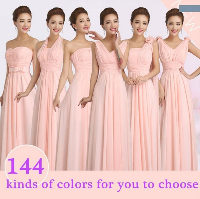 2017 Hot Peachy Pink Winter Wedding Party Bridesmaid Dress Long Chiffon Prom Dresses