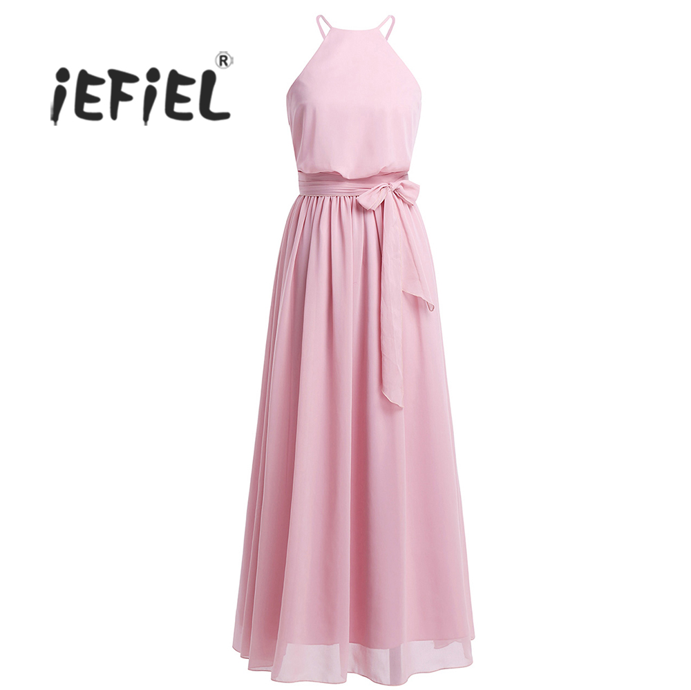 Iefiel mujeres damas sin mangas de gasa vestido largo del vestido de ...