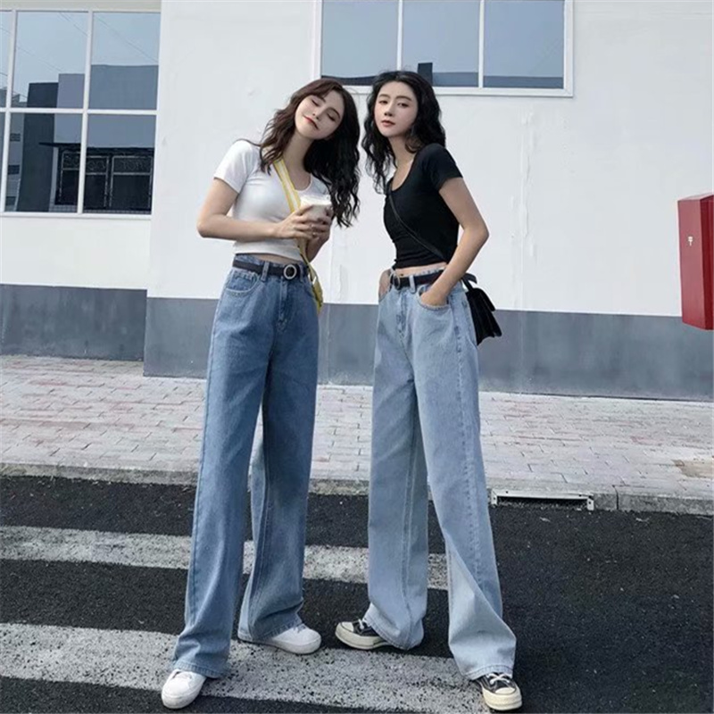 Autumn Jeans Trousers Korean-Pants Boyfriend Wide-Leg Loose Blue High-Waist Women Mujer