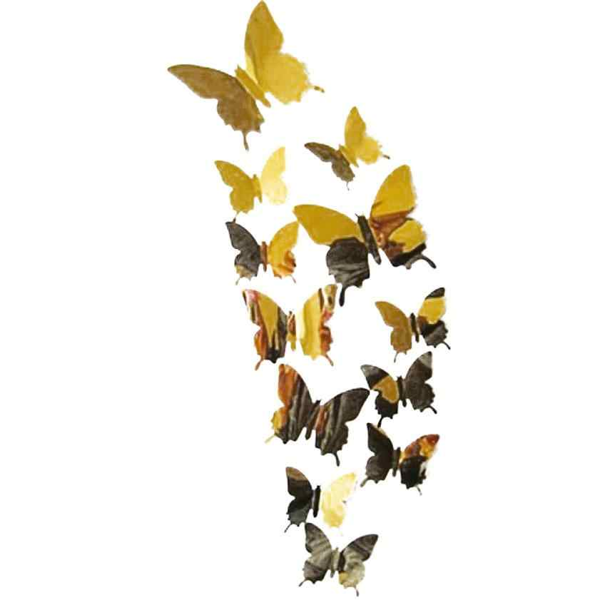 Wall Stickers Decal Butterflies 3D Mirror Wall Art Home Decors for living room,bedroom,kitchen,toilet,and Festive wedding decora