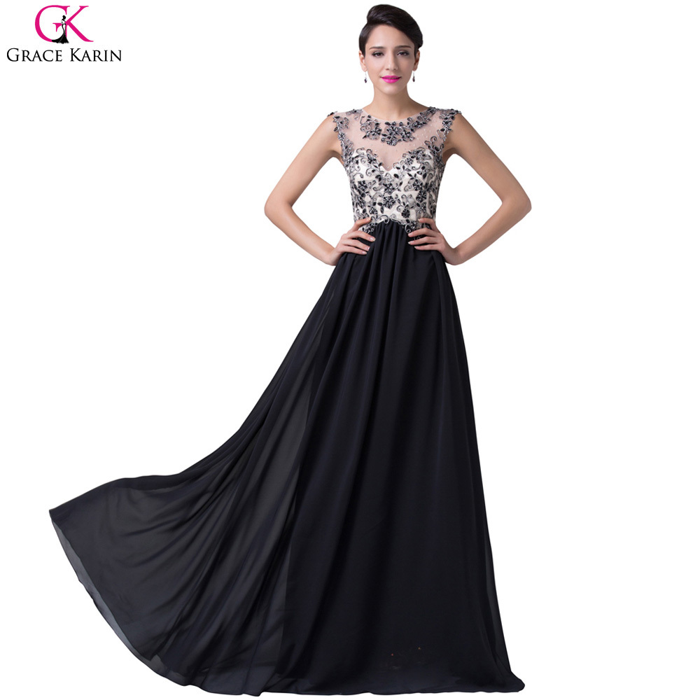 04acaae376a0a Elegant Evening Dresses Grace Karin Chiffon Black White Golden Robe De  Soiree Long Formal Gowns Transparent Lace Party Dresses-in Evening Dresses  from ...