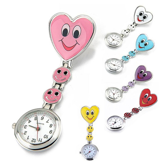 Hot Sales Nurse Pocket watch Lovely Heart Smile Face With Medical Nurses Fashion