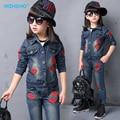 Free shipping 2015 autumn new cowboy suit girl child autumn children's clothing big virgin piece jacket denim jacket + pants