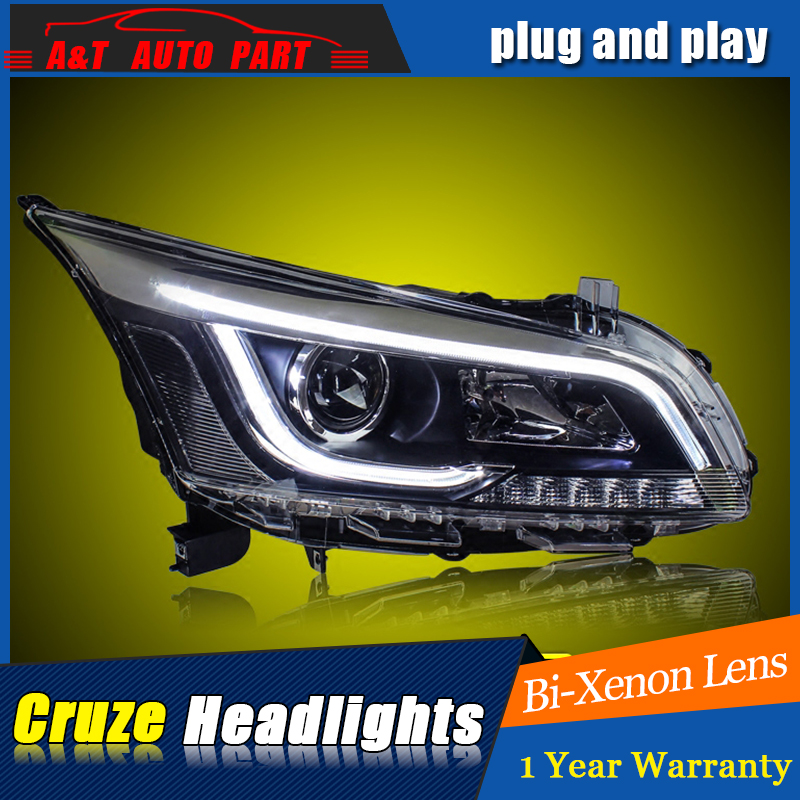 A&T Car Styling For CHEVROLET CRUZE headlights For CRUZE LED head lamp Angel eye led DRL front light Bi-Xenon Lens xenon HID