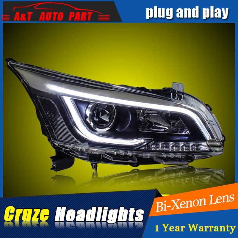 Стайлинг автомобиля для Шевроле Cruze передняя фара в сборе для Cruze привел глава лампы глаза Ангела Сид DRL переднего света H7 с HID комплект 2шт.
