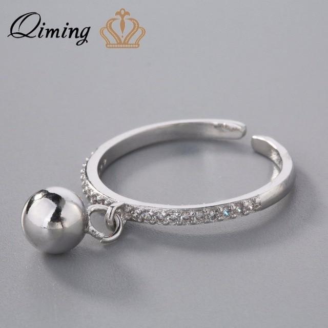 QIMING Silver 925 Jewelry Jingle Bell Rings For Women Austria Crystal  Fashion Girls Boho Ring Friends Gift Nice Jewelry B 4084cdd8c1da