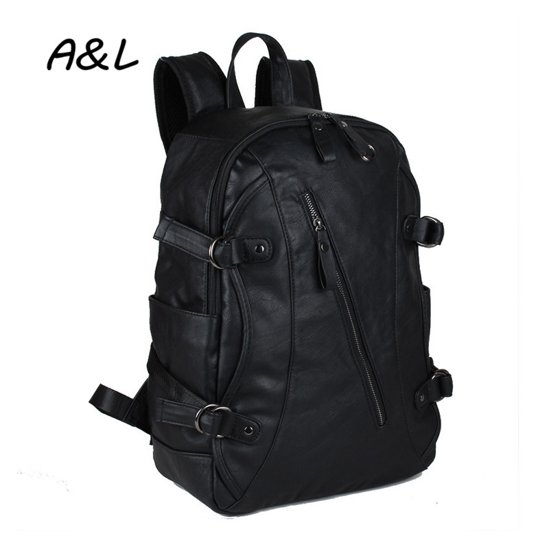 2019Men Leather Backpack Fashion Leisure Outdoor Travel - Backpacks