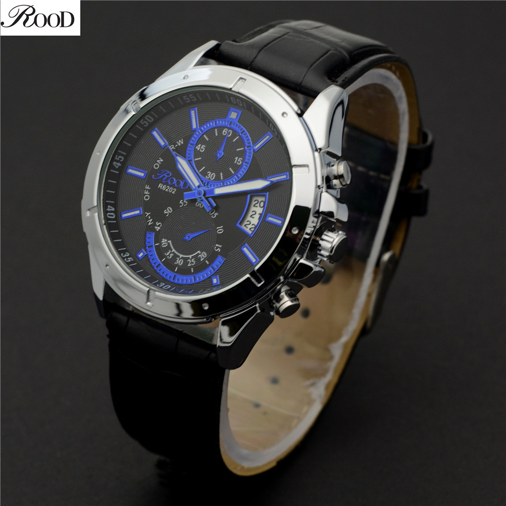 Sport Watches for Men Waterproof Auto Date Leather Strap Wristwatches ROOD Brand Luxury Fashion Design Quartz Reloj Hombre