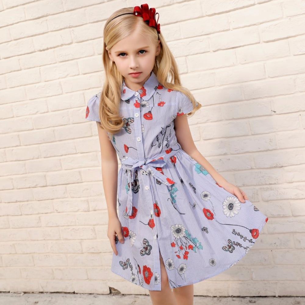 little girls dresses cotton baby girl shirt dress print summer 2018 barnd kids girl striped dress size 2 3 4 5 6 7 8 years