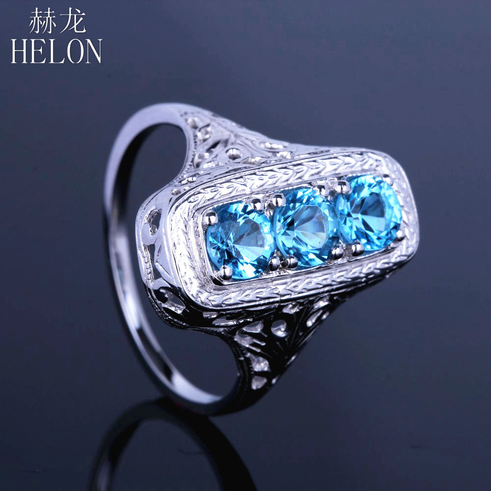 HELON Solid 10k White Gold Three Stone Round Cut 1.4ct Genuine Blue Topaz Vintage Antique Art Deco Engagement Fine Jewelry Ring-in Rings from Jewelry & Accessories    1