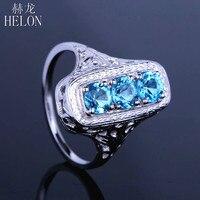 HELON Solid 10k White Gold Three Stone Round Cut 1.4ct Genuine Blue Topaz Vintage Antique Art Deco Engagement Fine Jewelry Ring