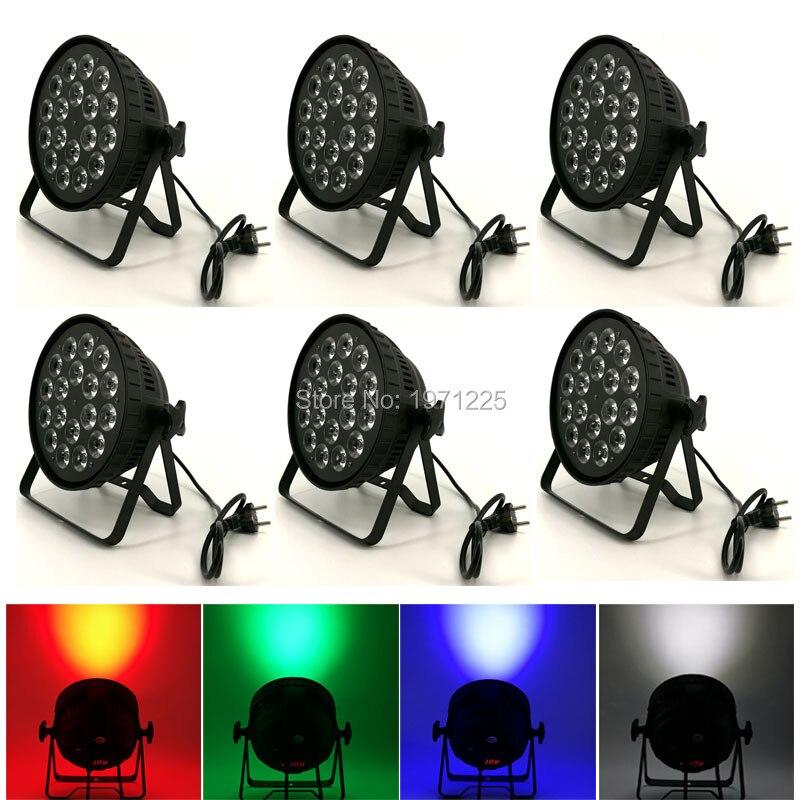 (6pcs) RGBW 4in1 18X12W LED PAR CAN 8 channels DMX Stage Light Disco Light DJs Equipment 18pcs lot best price double brackets cast aluminum dmx 8 channels led par can 18x12w rgbw 4in1